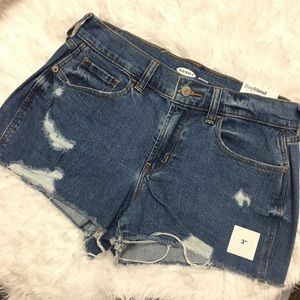New old navy boyfriend fit distressed shorts